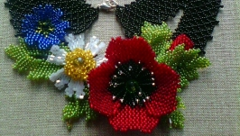 Ukrainian Handmade Beaded Necklace (Gerdan) ′Field Flowers′ black,red.