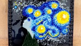 Картина із кольорового скла ′Чарівна ніч летить через віки′