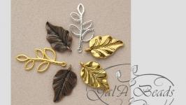 Подвеска листик Большой золото серебро бронза