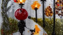 Картина із кольорового скла ′Осінній дощ′