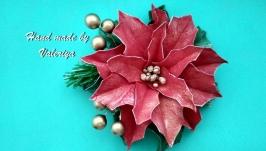 брошь Рождественская пуансетия