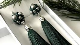Серьги-Кисти темно-зеленые