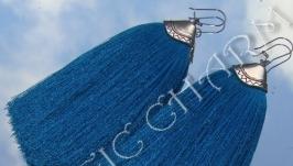 Голубые серьги с плоскими кистями