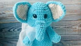 Плюшевый слоник, вязаная эко игрушка