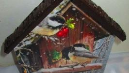 Ключница -домик ′Птички-невелички. Зима