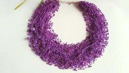 Воздушное колье фиолетовое Длинное фиолетовое ожерелье из бисера купить