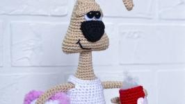 Вязаная игрушка ручной работы зайка амигуруми
