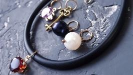 Браслет зі змінними підвісками натуральні перли, кристали