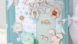 Подарок новорожденному , альбом ручной работы для мальчика