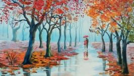 Картина маслом пейзаж ′Колдунья осень′ 45 х 35 cм