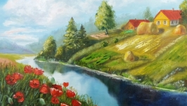 Картина маслом пейзаж ′Маки над рекой′  50 х 40