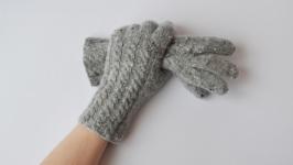 Женские зимние перчтаки. Серые перчатки из твида