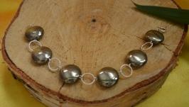 Серебряный браслет с пиритом ′Затмение′