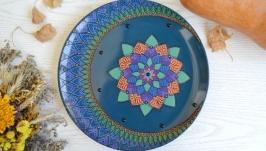Декоративная тарелка Полумесяц Мандала
