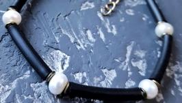 Браслет з натуральними білими перлами високого класу