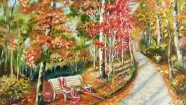 Картина маслом пейзаж Осеннее свидание 50 х 40 см