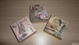 Подарочная упаковка 9 на 9 см. Коробка набор Романтика Парижа 3 шт