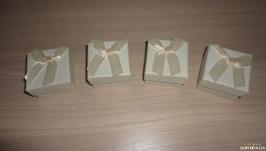 Подарочная упаковка с бантом. Коробка набор 4 шт Белый