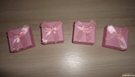Подарочная упаковка с бантом. Коробка набор 4 шт Розовый