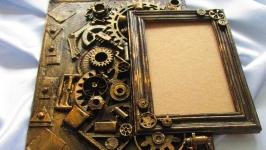 Авторская фоторамка в стиле Steampunk (стимпанк), Ассамбляж (assemblage)