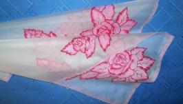 Женский белый шифоновый шарф с ручной росписью розовые розы