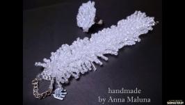 Комплект украшений ручной работы (браслет и кольцо) ′Пушистый иней′ из бис
