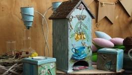 Чайный домик ′Бирюзовое настроение′ и подсвечники. набор