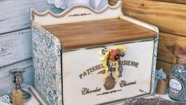 Хлебница деревянная «Французский десерт». Продана.