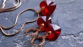 Комплект з кристалами Swarovski серце у позолоті сережки та кулон