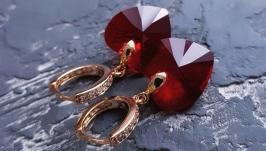 Сережки з кристалами Swarovski серце у позолоті подарунок на день закоханих