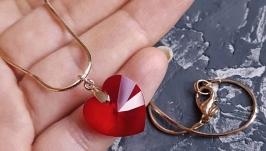 Кулон на ланцюжку з кристалом Swarovski серце у подарунок на день закоханих