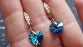Позолочені сережки з кристалами Swarovski серце подарок на 8 марта девушке