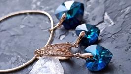Позолота комплект з кристалами Swarovski серце сережки подарунок 8 березня