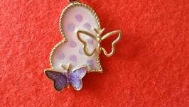 Кулон Сердце с бабочками