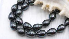 Капли Майорка ′Черный павлин′ 11х8 мм