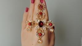 Серьги-кресты в стиле Дольче Габбана Рубиновый закат