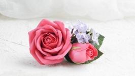 Заколка для волос с розами и сиренью, Весенняя свадебная заколка с цветами