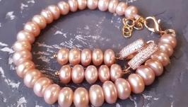 Комплект з натуральних перлів у позолоті подарунок на 8 березня дружині