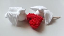 Топпери-сердечка з маленьких трояндочок для декору.