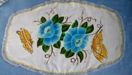 салфетка из ткани с ручной росписью цветочного орнамента