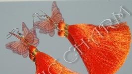 Серьги-кисти с бабочками из органзы