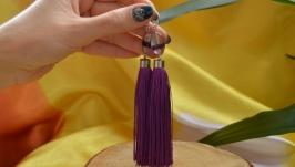 Серьги - кисти фиолетовые с натуральным флюоритом ′Флюорит′ сталь