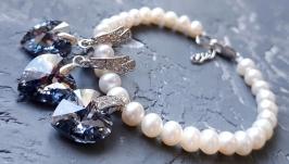 Колір на вибір! Комплект з натуральними перлами та Swarovski кристалами
