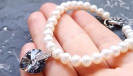 Колір на вибір! Браслет з натуральними перлами та Swarovski кристалами