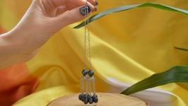 Серьги с черным жемчугом ′Медуза′ сталь
