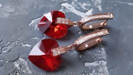 Колір на вибір! Сережки з Swarovski серце подарок 8 марта жене подруге