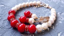 Комплект з натуральних перлів та коралів браслет сережки