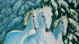 Картина маслом, зимний пейзаж, Белоснежные кони 60 х 40