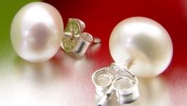 Серьги-гвоздики натуральный жемчуг Серебро 925 Подарок к 8 марта