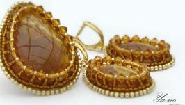 Комплект серьги и кольцо с симбирцитами